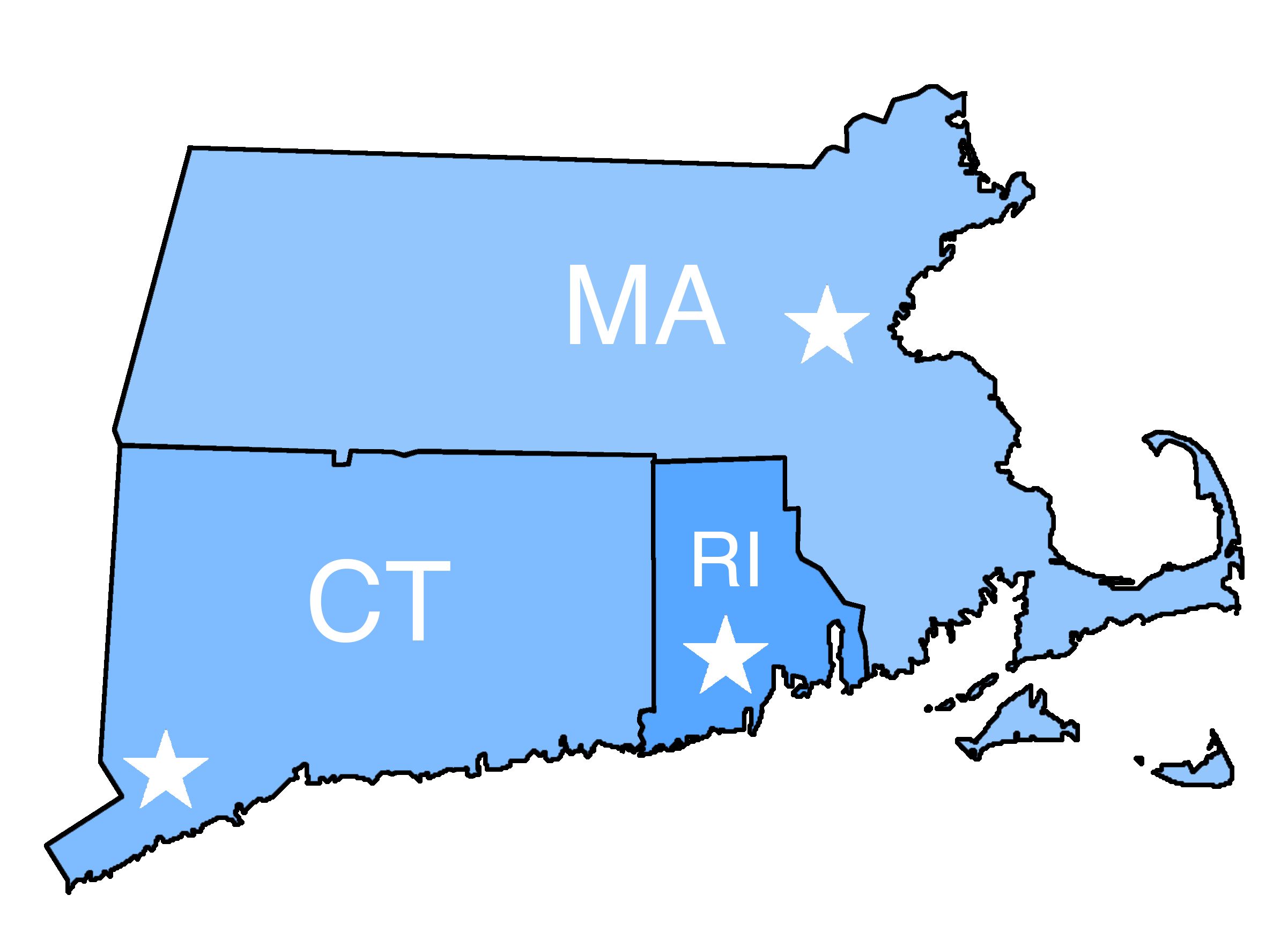 Map of Connecticut, Massachusetts, and Rhode Island.